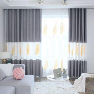 Vorhang elegant mit goldenen Blättern im Wohnzimmer (1er Pack)