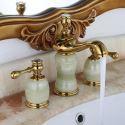 Waschtischarmatur 3-Loch Zweigriff Jade Design in Gold für Kalt- und Warmwasser