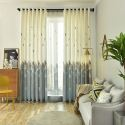 Blickdichter Vorhang geometrisch Muster aus Baumwolle und Leinen im Schlafzimmer (1er Pack)