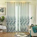 Vorhang elegant im Baumwolle und Leinen mit Blätter Muster für Wohnzimmer (1er Pack)