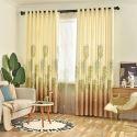 Minimalismus Vorhang mit grünen Blättern im nordischen Stil für Schlafzimmer (1er Pack)