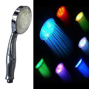 (EU Lager) Zeitgenössische 7 Farbwechsel LED Handbrause (Chrom)