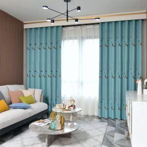Europäischer Vorhang Mond Motiv aus Polyester im Wohnzimmer (1er Pack)
