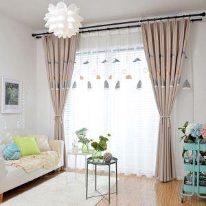 Nordischer Stil Vorhang Lampe Muster Stickerei für Schlafzimmer (1er Pack)