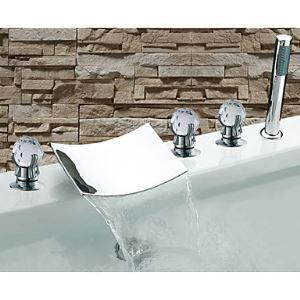 (EU Lager)Badewannenarmatur Modern Wasserfall mit Handbrause Drei Griffe