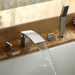 (EU Lager) Zeitgenössische Wasserfall Badewannenarmatur Wasserhahn mit Handbrause - Chrom-Oberfläche