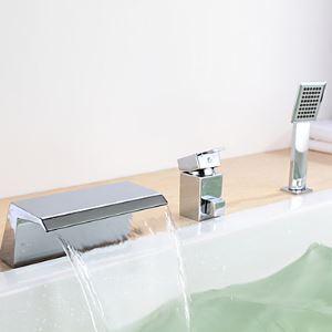 (EU Lager)Zeitgenössische Wasserfall Badewannenarmatur Wasserhahn mit Handbrause (Chrom)