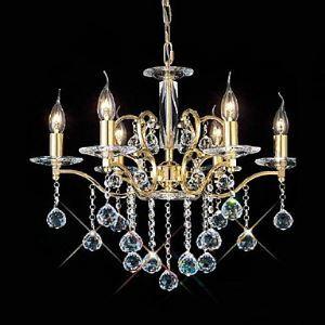 (EU Lager)6-flammiger-Kristall-Kronleuchter Gold Kerzenform