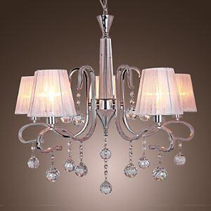 (EU Lager)Moderne Kristall-Kronleuchter mit 5 Lampen weiß