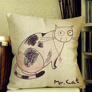 (EU Lager)Nette Katze Baumwolle Dekokissenbezug