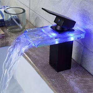 Led Waschtischarmatur Einhand aus Glas in Schwarz für Badezimmer