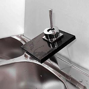 (EU Lager) Wasserfall Bad Waschtischarmatur mit Schwarz Auslauf