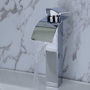 (EU Lager)Zeitgenössische Messing Wasserfall Bad Waschtischarmatur (tall)