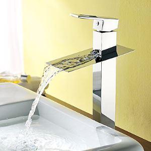 (EU Lager)Massivem Messing zeitgenössische Wasserfall Einhand Badezimmer Waschtischarmatur Chrom