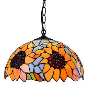 (EU Lager)Tiffany Pendelleuchte mit Sonnenblumen Muster