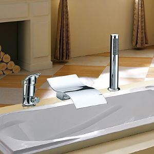 (EU Lager)Zwei Griffe zeitgenössische Wasserfall Chrom Badewannenarmatur mit Handbrause