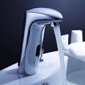 (EU Lager)Messing Bad Waschtischarmatur mit automatischer Sensor und Wasserablauf