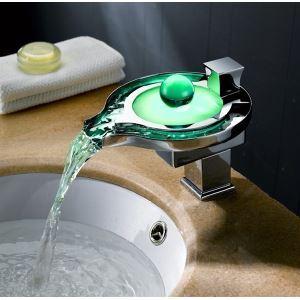 (EU Lager) Led Waschtischarmatur Glas Wasserfall Einhebel
