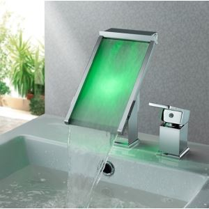(EU Lager) Led Wasserhahn Wasserfall Einhand in Chrom für Waschbecken