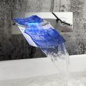 LED Wasserhahn Bad Wasserfall Wandmontage Chrom