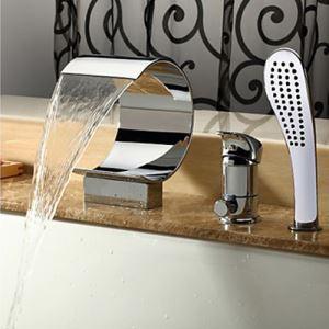(EU Lager)Zeitgenössische Wasserfall Badewannenarmatur Wasserhahn mit Handbrause - Chrom-Oberfläche