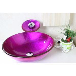 (EU Lager) Runde lila Glas Waschbecken mit Wasserfall Wasserhahn, Montage Ring und Wasserablauf (0917-VT4064)