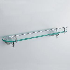 (EU Lager)Modern Zeitgenössisch Chrom Oberfläche Silber Single Badablage Messing Wandmontage Glasablage mit Reling