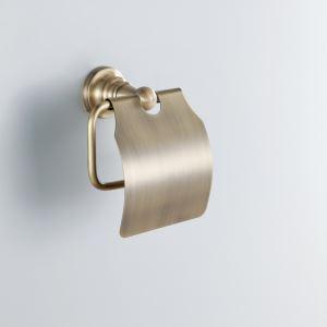 (EU Lager) Antik Messing Toilet Papierhalter mit Decke Wandmontage Messing WC-Rollenhalter