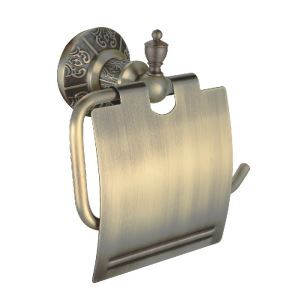(EU Lager)Antik Messing Toilet Papierhalter mit Decke Wandmontage Messing WC-Rollenhalter