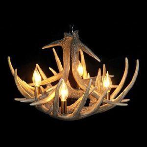 (EU Lager)Kronleuchter Geweih Vorgestellt Vintage 4 flammig