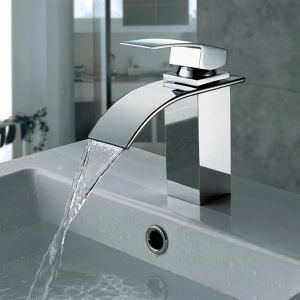 (EU Lager)Waschtischarmatur Wasserfall Chrom Messing Einhebel ( In Stock )