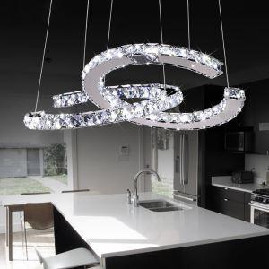 (EU Lager)32W LED Luxuriöse Edelstahl Kristall Pendelleuchte