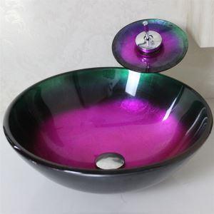 (EU Lager) Gehärtetes Glas Schiff-Form Runde Waschbecken mit Einhebel Armatur und Montage Ring und Wasserablauf
