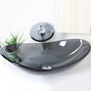 (EU Lager) Modern Waschbecken Oval Grau Transparent Glas mit Wasserfall Armatur Set