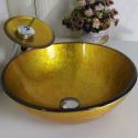Gold Rund Glas Waschbecken mit Wasserfall Armatur Set
