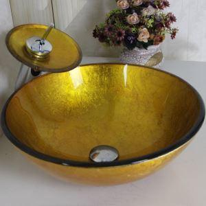 (EU Lager) Gold Rund Glas Waschbecken mit Wasserfall Armatur Set