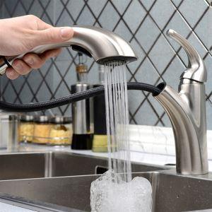 (EU Lager)Küchenarmatur Ausziehbar Modern aus Messing Nickel Gebürstet