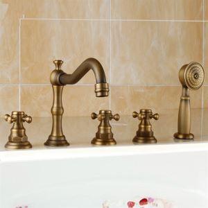 (EU Lager) Antik Messing Oberfläche Badewannenarmatur Wasserhahn mit Handbrause