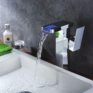 (EU Lager)Led Waschtischarmatur Einhand Wasserfall Bad Chrom Oberfläche
