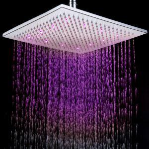 (EU Lager) 12 Zoll verchromt Messing eckige LED Regenbrause (0913-8106)