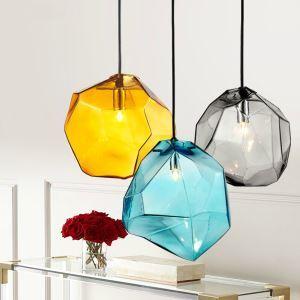 (EU Lager)Modern Bunte Glas Penddelleuchte 3 flammige Grau/Orange/Blau