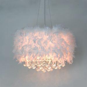 (EU Lager)Kristall Pendelleuchte Weiß Feder Design 3-Flammig