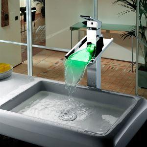 (EU Lager)LED Messing Waschtischarmatur