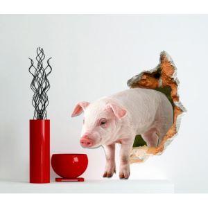 (EU Lager)3D Wandtattoo Schwein PVC Fototapete