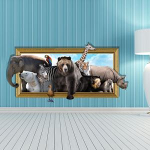 (EU Lager)3D Wandtattoo Tiere PVC Fototapete