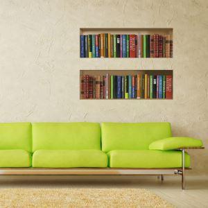 (EU Lager)3D Wandtattoo-Bücherregal Design-PVC Fototapete
