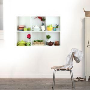 (EU Lager)3D Wandtattoo-Wandschrank Design-PVC Fototapete