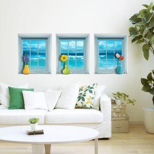 (EU Lager)3D Wandtattoo-Seenlandschaft durch Fenster-PVC Fototapete