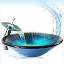 Rund Glas Waschbecken+Wasserfall Armatur Set