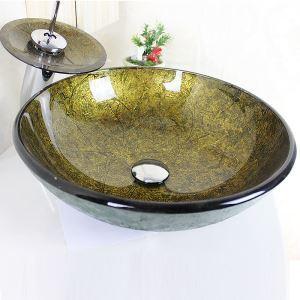 (EU Lager) Modern Waschbecken Gold Rund Glas Aufsatz Waschschale mit Wasserfall Wasserhahn Set